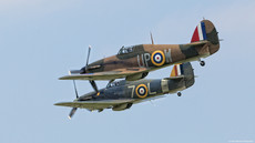 Spitfire and Hurricane in flight together.