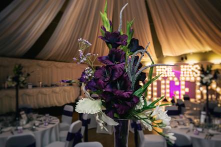 Wedding breakfast flower arrangement.