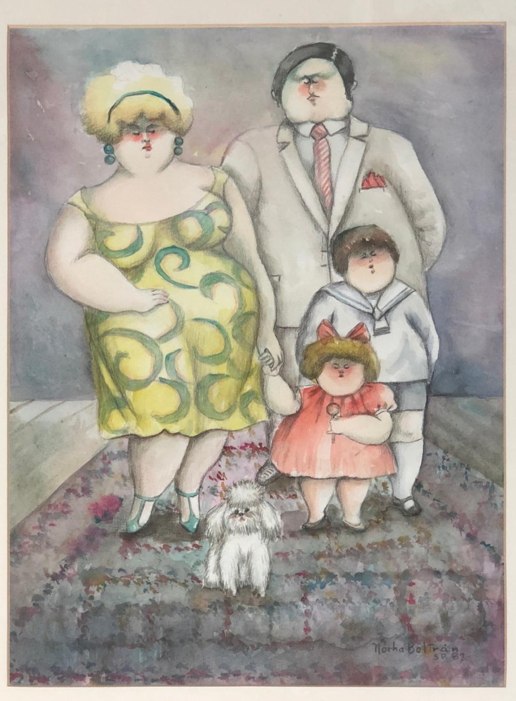 Retrato de una família de cuatro más a perro