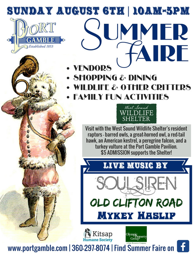 Get Ready for Port Gamble Summer Faire August 6th, 2017
