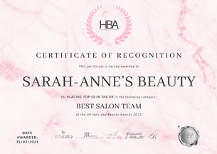 Sarah-Anne's Beauty - TOP 50 CERTIFICATE