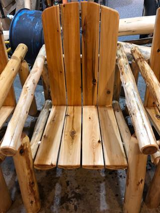 Custom log chair.
