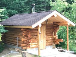 Cedar log sauna.