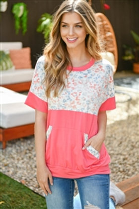 Perfect Peach Leopard Contrast Kangaroo PocketTop Coral