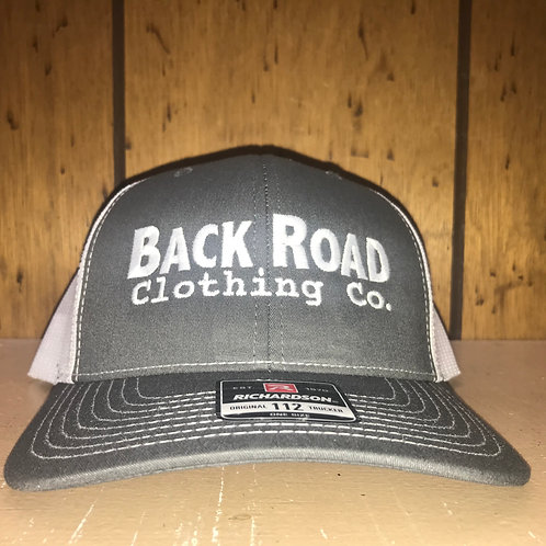 Back Road Clothing Co. Logo Trucker Hat Charcoal/White