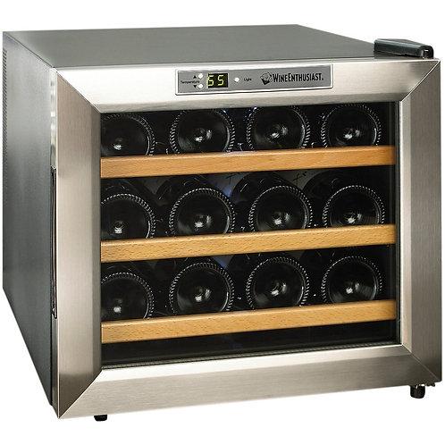 Stainless Steel/Wood Shelves12-Bottle Wine Cooler
