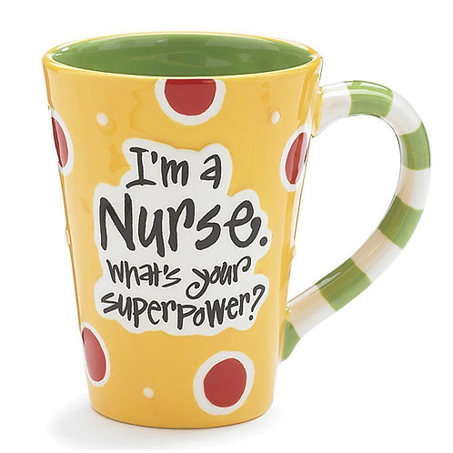 "Nurse 12 Oz Coffee Mug/cup with ""I'm A Nurse"" What's Your Super Power?"""