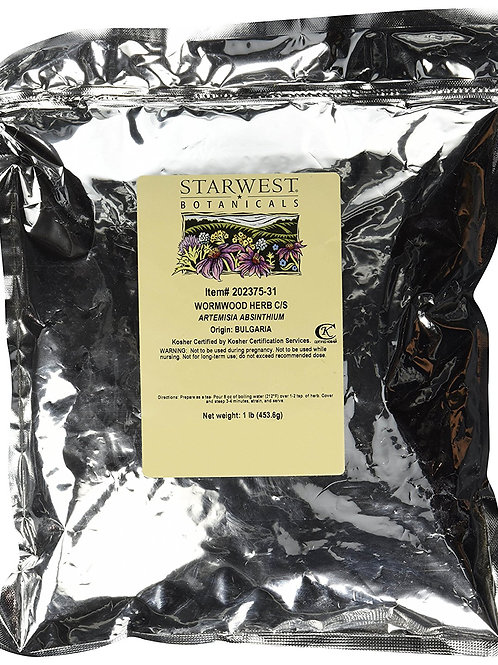 Wormwood Herb Wildcrafted Cut & Sifted - Artemisia absinthium, 1 lb,(Starwest Bo