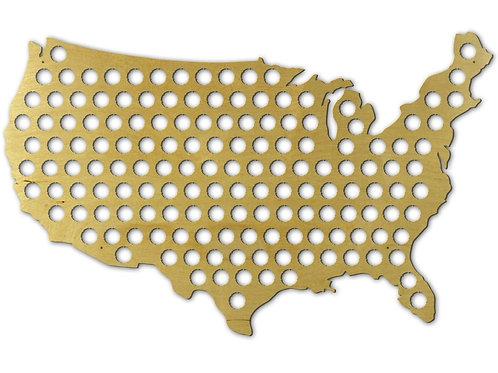 LARGE USA Map Beer Bottle Cap Holer Wall Art