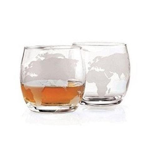 Etched Globe Whiskey Glasses 12 oz, Set of 4