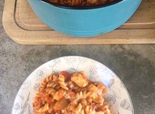 Pasta Pollo BBQ (usando solo una olla)