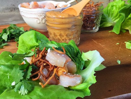 Wraps de Lechuga con Camarones Thai