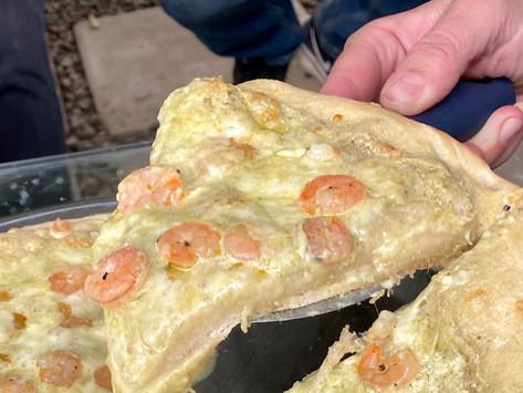 Pizza al Pesto con Camarones