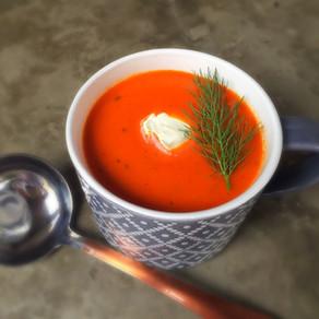 Sopa de Pimentón, Tomate y Albahaca