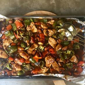 Pollo Asiático con Almendras y Verduras al Horno