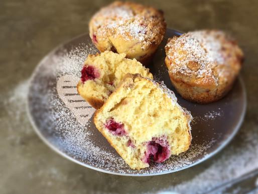 Muffins de Frambuesas y Mandarina con Crumble de Canela