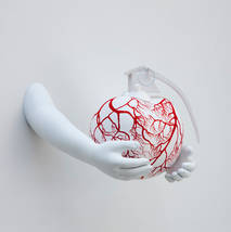 white cherry with red arteries and hands
