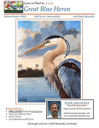 DIGITAL Acrylic Great Blue Heron