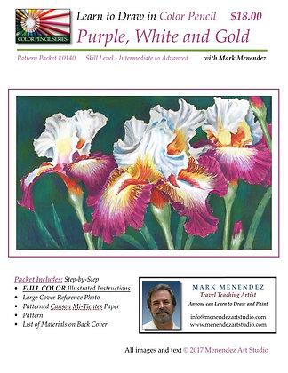 Purple White & Gold Irises