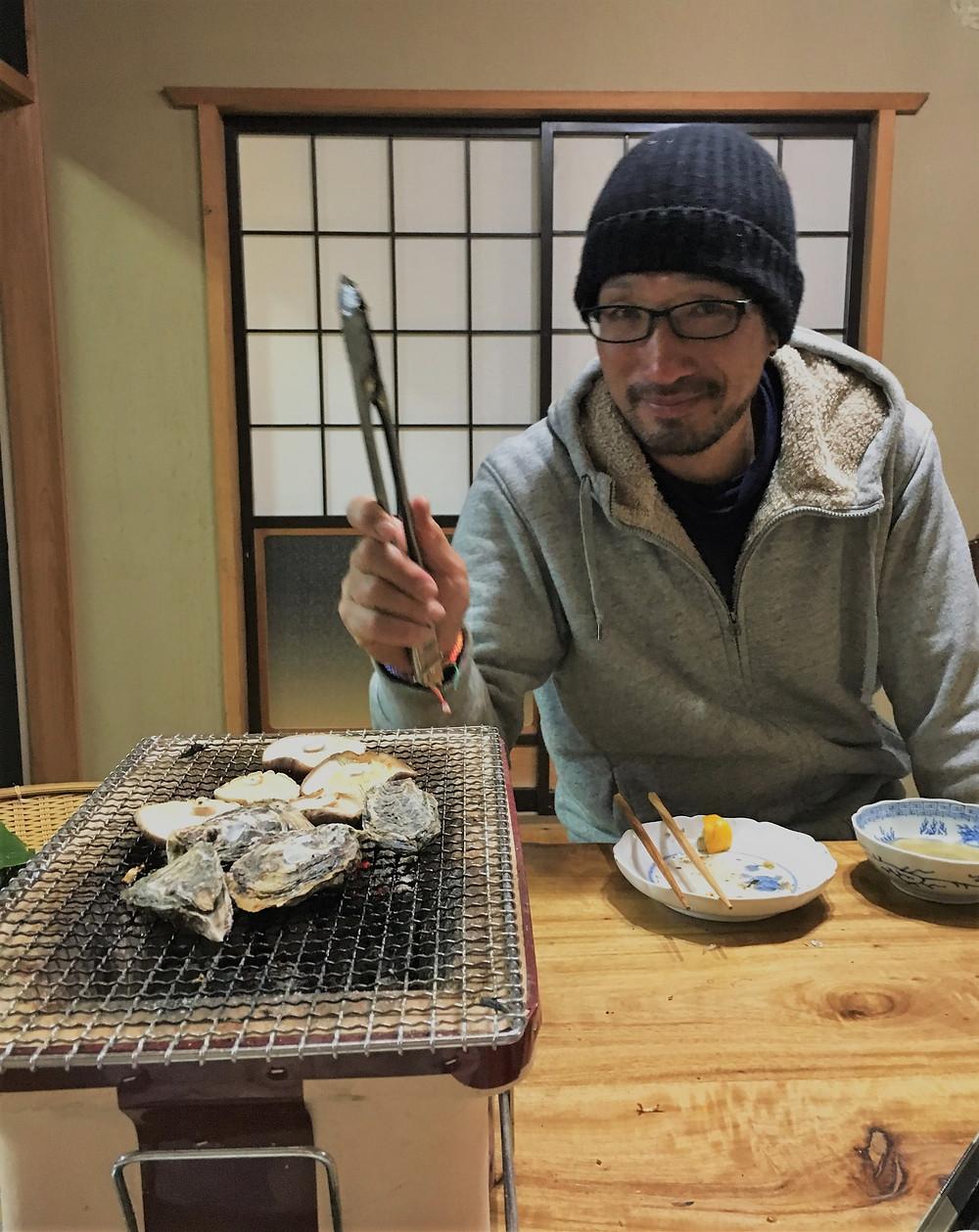 タツさんと焼き牡蠣