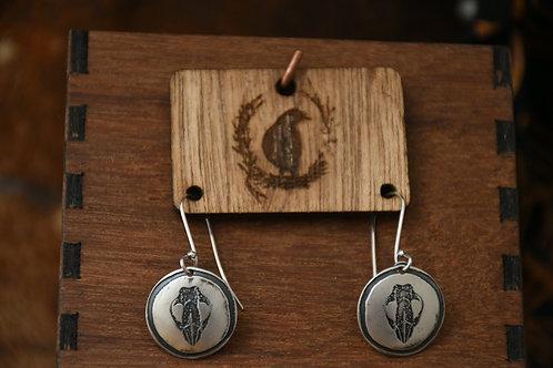 Little Wombat Skull Disc earrings