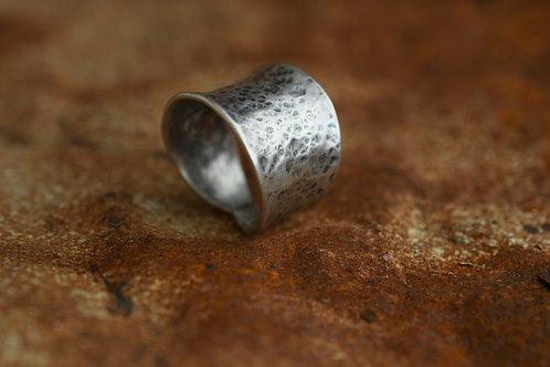Hammered Silver Saddle Ring