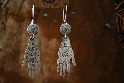 Mehndi Silver Hand Earrings