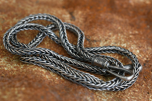 "32"" Sterling Silver Foxtail Chain Long 4mm thickness"