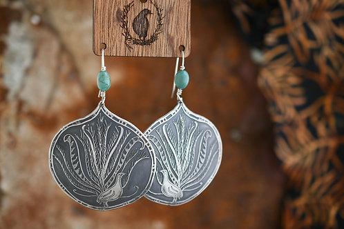 Turquoise Lyrebird Earrings