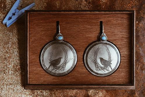The Peg Thief Bowerbird Disc Earrings