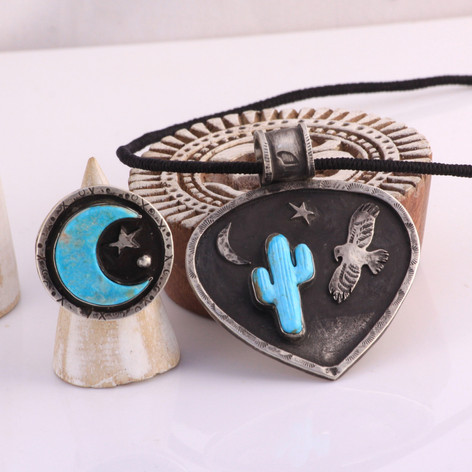 Crescent Moon and Star Ring with Red Hawk Pendant