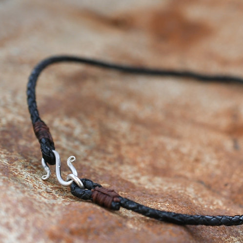 "18"" Braided Leather Choker 4mm thickness"