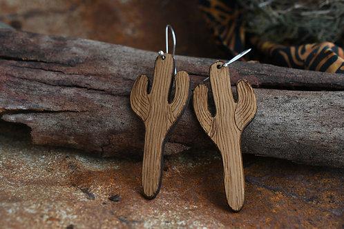 Wooden Saguaro Earrings