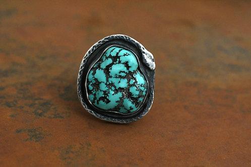 Vintage Turquoise Nugget Snake Ring