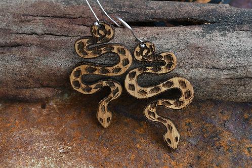 Wooden Serpent Earrings