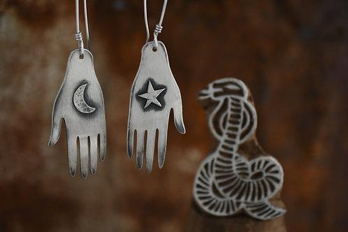 Moon and Star Hand Earrings
