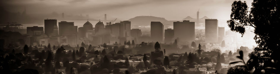 Black and white picture of downtown Oakland