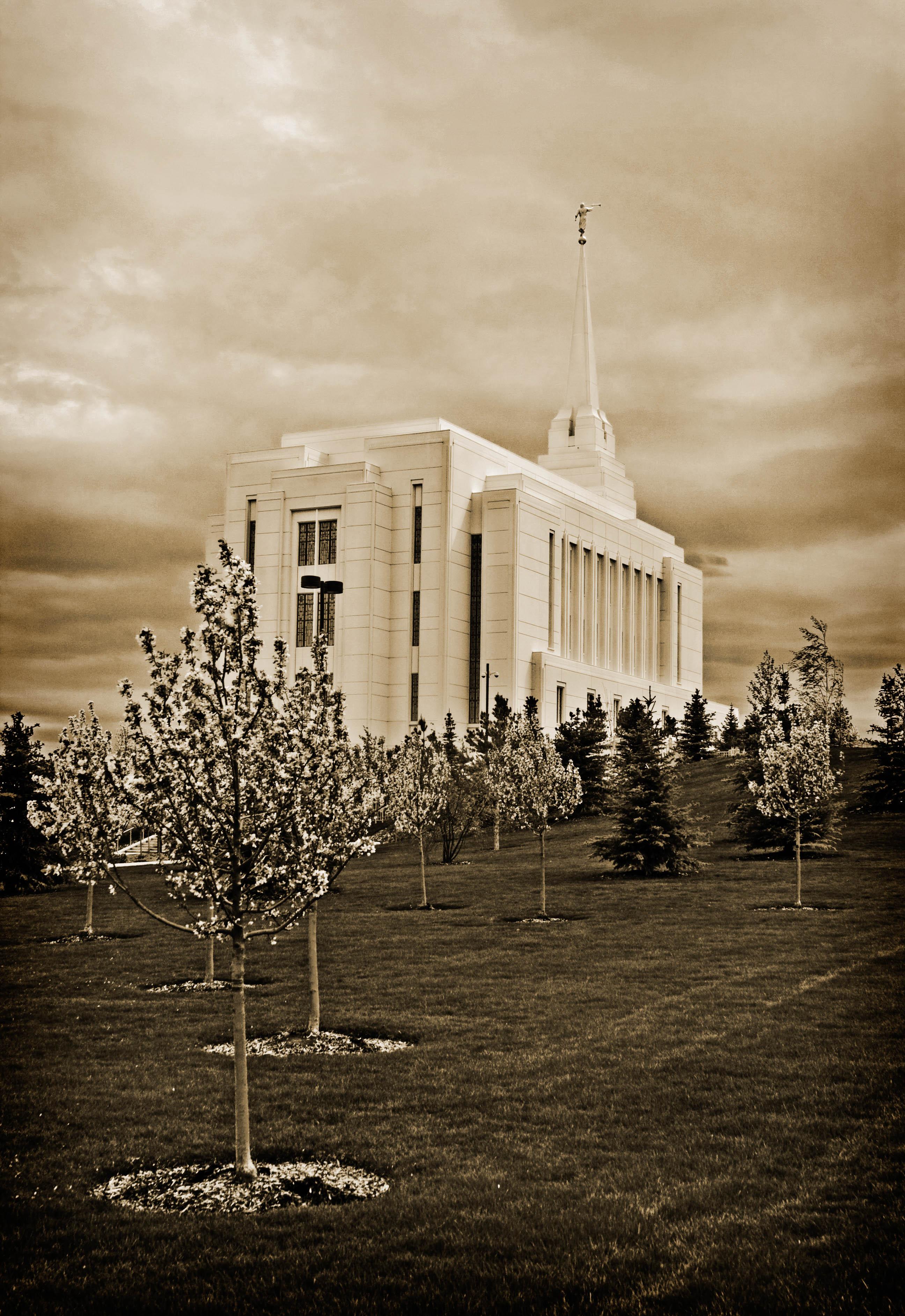 Rexburg Idaho Temple Sepia