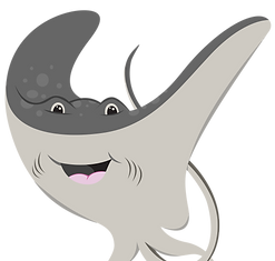 A happy, smiling catoon of a manta ray for a children's toy brand, Zeapals.