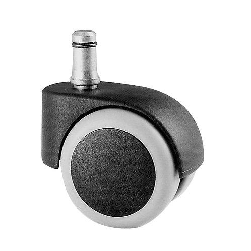 Kit 5 ruote girevoli gommate per base poltrone colore grigio nero