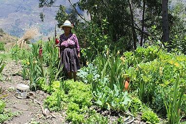 Productora de hortalizas en su biohuerto