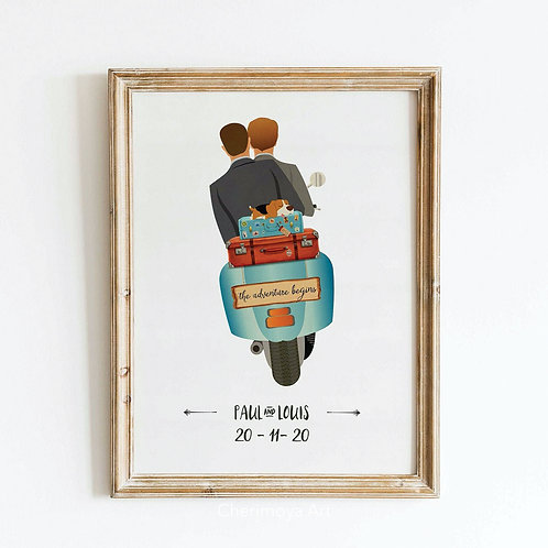 PERSONALISED SCOOTER WEDDING POSTER