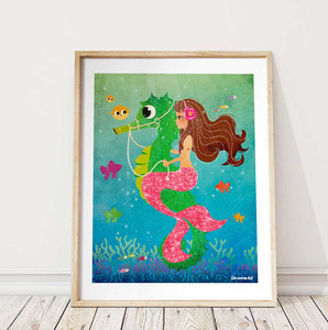 Mermaid Riding Sea Horse Beach Artwork Kids Bedroom Print