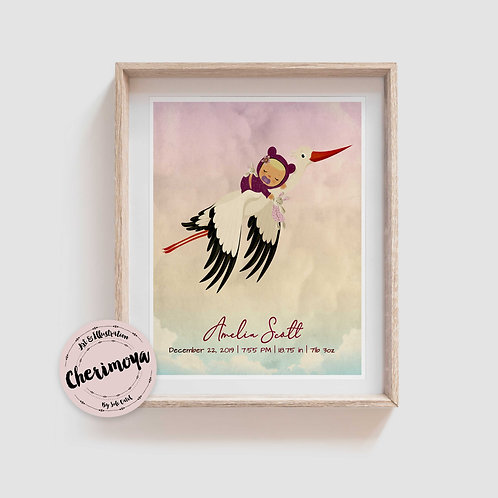 STORK DELIVERY BIRTH ANNOUNCEMENT- LIGHT SKIN