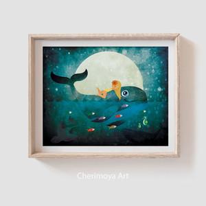 Girl Riding Whale Ocean Gift Kids Bedroom Print Illustrations