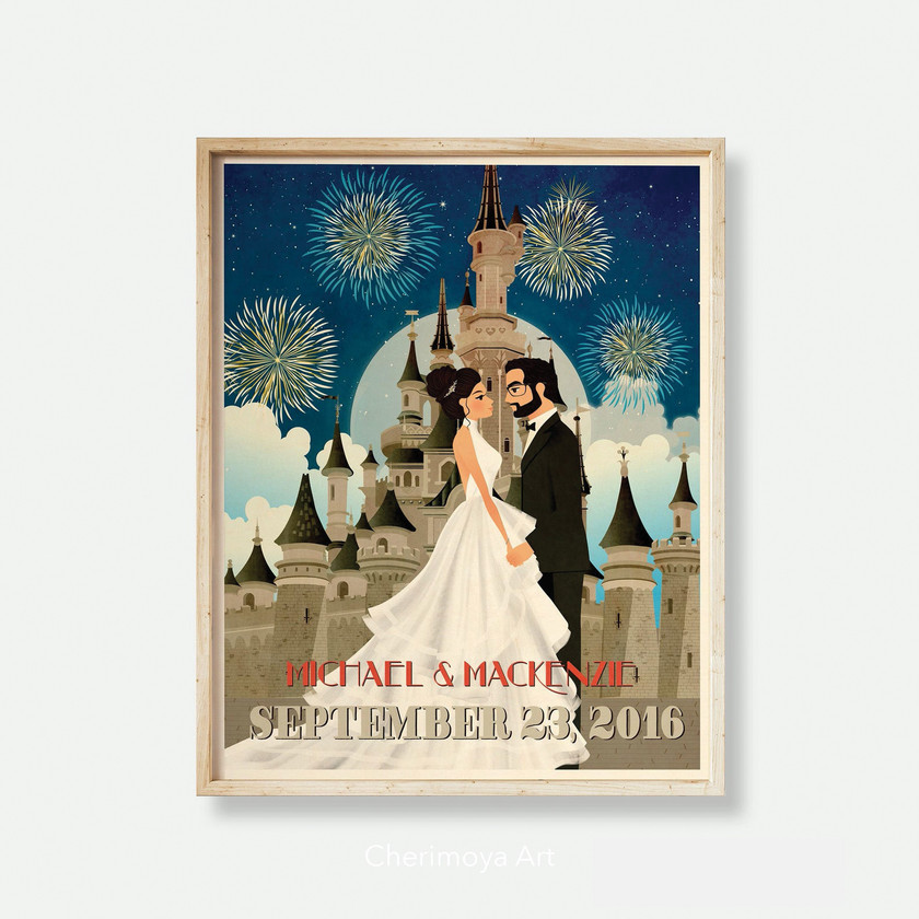 Castle Wedding Couple Fireworks Fantasy Fairytale Gift Artwork illustrations