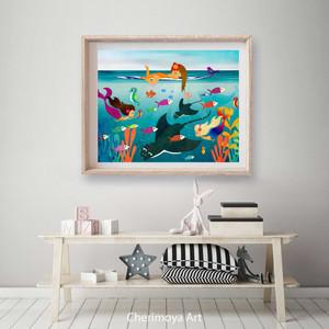 Girl Surfing with Marine Life Mermaids Surf Beach Kids Bedroom Print Illustration Artwork