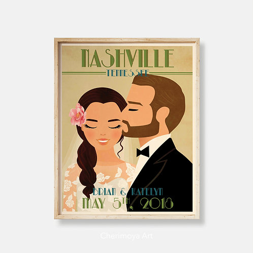 A SWEET KISS -  CUSTOM WEDDING ART