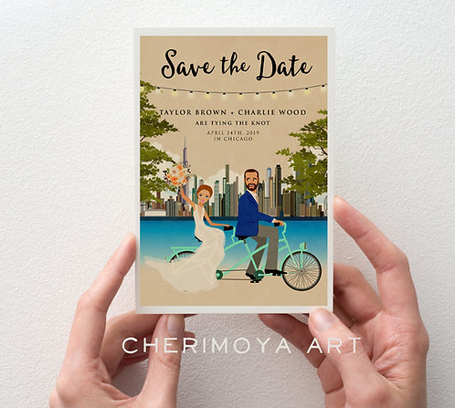 CUSTOM ILLUSTRATED DESTINATION SAVE THE DATE