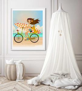 Surfer Girl On Bike Beach Dog Kids Bedroom Artwork Print